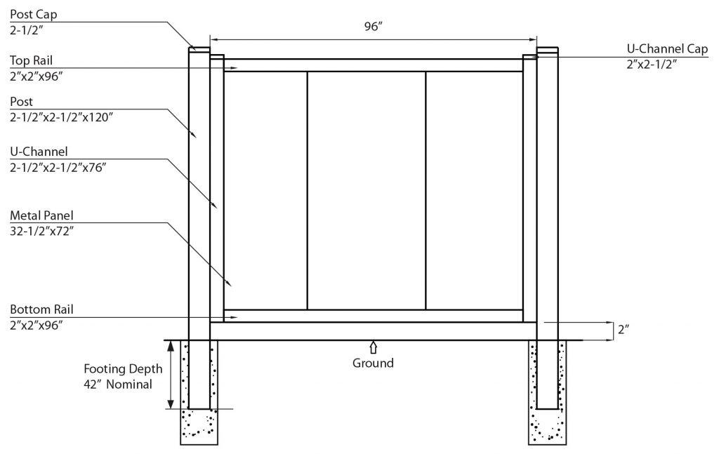 privacy metal fence illustration