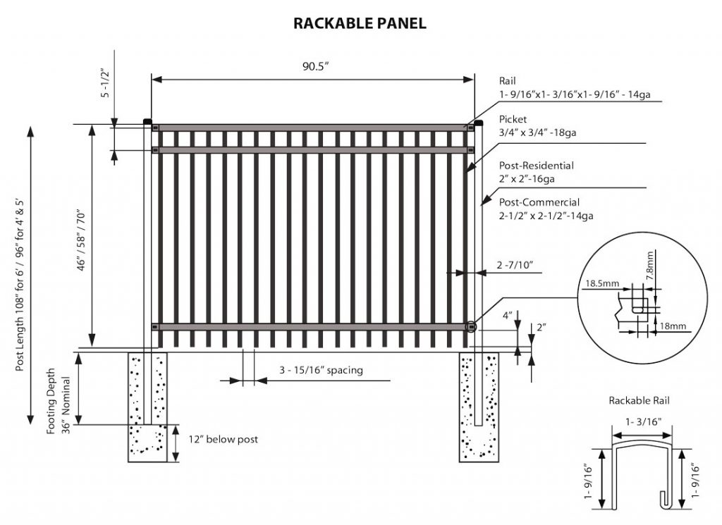ornamental fence rackable panel specs illustration